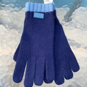 New pair of Coach Blue Knit Gloves